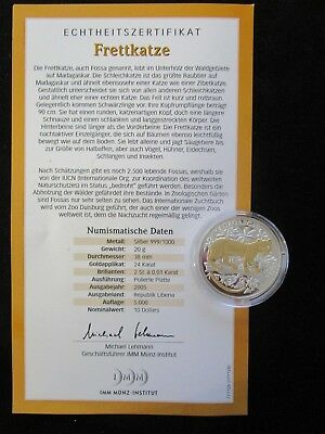 Liberia, 10 Dollars, 2005 PP, Frettkatze, Brillanten und Goldapplikation
