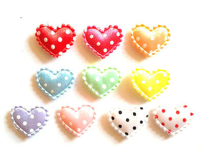 100 pcs Cute dot Satin Heart Padded Appliques size 20 mm x 15 mm assorted colors