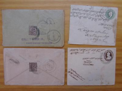 NEPAL 4 OLD incoming mails from India ca. 1910/30ies different cancels