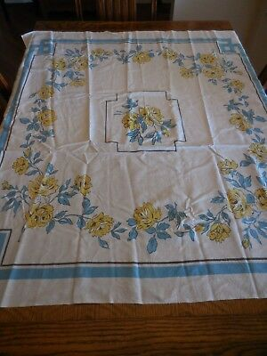 Vintage Cotton Tablecloth Yellow Teal Floral Design 46 x 43