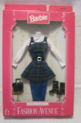 NEW 1997 BARBIE FASHION PACK ~ BLUE/GREEN PLAID JUMPER w/WHITE TOP OUTFIT