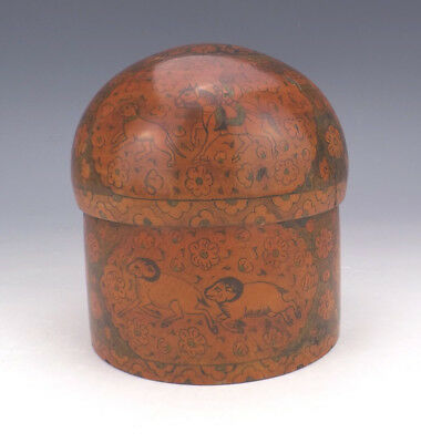 Antique Indian Kashmiri - Dome Topped Wooden Lidded Box - Lovely!