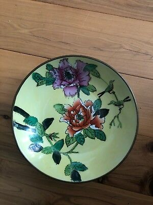 Vintage Antique Decorative Wall Chinese Brass & Ceramic Bowl As Is