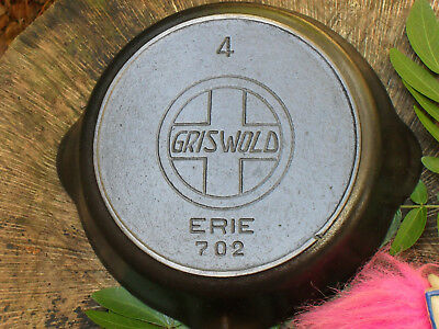 RARE Griswold Erie 4 Slant Logo w/Heat Ring 702 Cast Iron Skillet ca.1907-1912