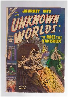 Journey into Unknown Worlds # 20 A Race Vanished ! grade 3.5 scarce Atlas book !