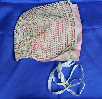 Vintage Hand Crocheted Knit Baby Bonnet Hat Pink Satin Lining Great For Doll Too