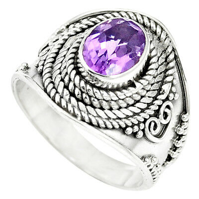 Natural Purple Amethyst 925 Sterling Silver Ring Jewelry Size 7 M61227