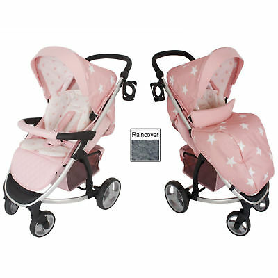 New My Babiie Pink Stars Mb200 Pushchair Compact Stroller With Raincover