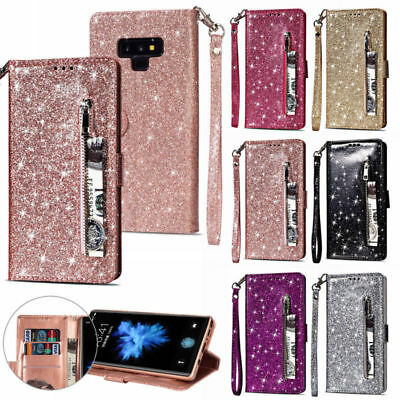 For Samsung Galaxy Phone Magnetic Leather Wallet Glitter Bling Zipper Case Cover