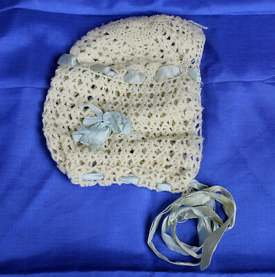 Vintage Hand Crocheted Baby Bonnet Hat Blue Ribbon Great For Doll Too
