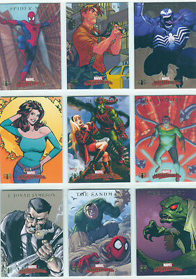 Marvel Masterpieces 2007 Complete 9 Card Chase Set Spiderman