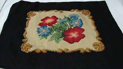 Early Vintage Finished French Design Crewel Embroidery Chair Cover