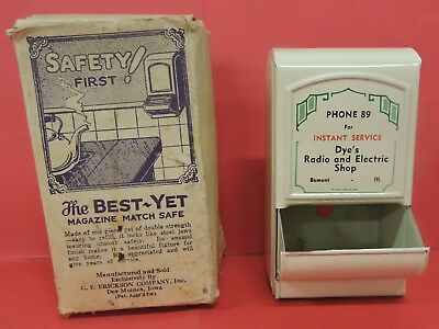 Vtg Dye's Radio&electric Shop Advertising Match Safe-Best Yet Magazine-Bement Il