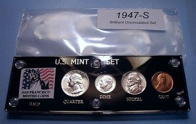 1947-S Mint U.s. 4 Coin Silver Set Frosty Very Choice Brilliant Uncirculated