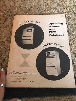 Corsair 30 Corvette 30 Manual and parts Catalogue Vending Machine