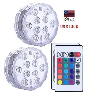 Submersible Led Lights with Remote Controlled Changing Waterproof Light Set of 2