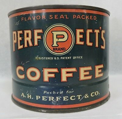 Vtg A H Perfect Brand 1 Lb Advertising Coffee Tin-Fort Wayne Indiana