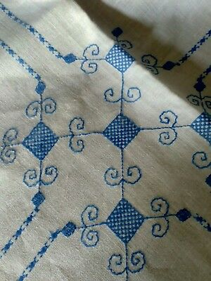 Blue and White Vintage Hand Embroidered Tablecloth 35 inches Square