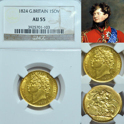 KING GEORGE THE IIII 1824 GOLD SOVEREIGN NGC Almost Uncirculated 55...
