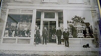 """Real Photograph DONER BROS HDWE w/Antique Cast Iron Heat Stove 12.5""""x15.5"""" Frame"""