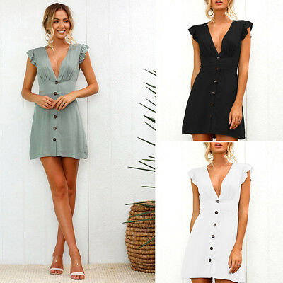 Women Summer Deep V-neck Button Design Slim Waist Solid Sexy Mini Dress LD