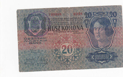 20 Korona Fine Banknote With Stamp From Komarom County 1918!hungary