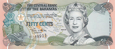 50 Cents Aunc-Unc Banknote From Bahamas 2001!pick-68