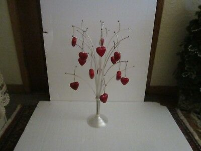 "Sterling Silver 24"" Metal Holiday Valentine Ornament Stand Hanger Display Tree"