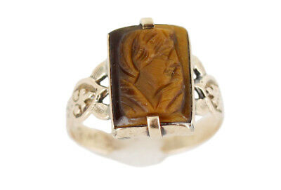 Antique 1838 Georgian 14K Rose Gold Signed Tigers Eye intaglio Cameo Ring 6