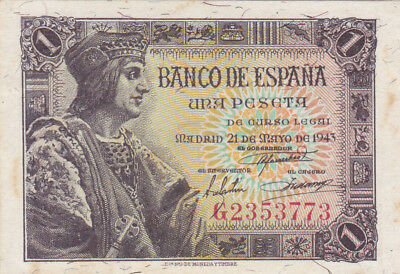 1 Peseta Extra Fine Crispy  Banknote From Spain 1943!pick-126