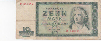 10 Mark Vg Banknote From East Germany 1964!!pick-23