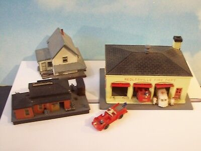 N SCALE STRUCTURES - Fire station, Freight station & house - as shown