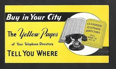 1940's Yellow Pages - Directory - Rotary Dial Telephone - Ink Blotter