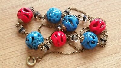Czech Vintage Art Deco Red/Blue Glass Bead Necklace On A Chain