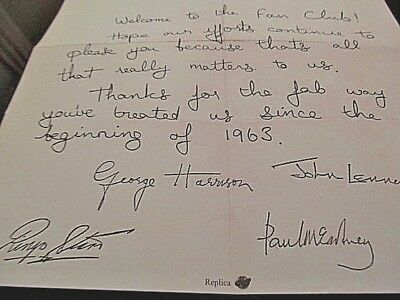 FAN CLUB Letter Autographed by 4 BEATLES Paul McCartney Vintage Liverpool Music