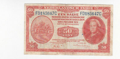 1/2 Gulden Fine Banknote From Netherlands Indies 1943!pick-110