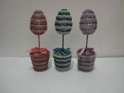 "VTG? Set Of 3 Pier 1 Glass Beaded Easter Egg 9"" Mini Trees In Pots"