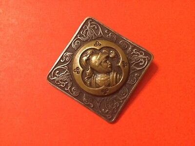 ANTIQUE FRENCH LARGE BRONZE BUTTON ARTS + CRAFTS -A P & Cie-PARIS,super quality.