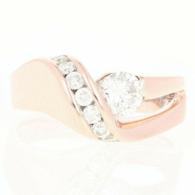 Contemporary Diamond Ring - 14k Rose Gold Round Brilliant .78ctw