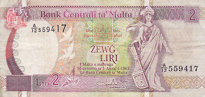 2 Liri Fine Banknote From Malta Nd!pick-45