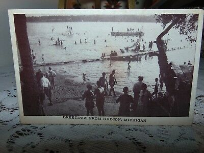 Early Greetings From Hudson Mich RP Postcard