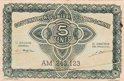 5 CENTS EXTRA FINE BANKNOTE FROM FRENCH INDOCHINE 1942!PICK-88b
