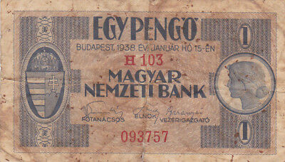 1 Pengo Vg From Hungary 1938!pick-102!used On Occupied Territories In Ww2