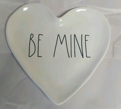 """New Rae Dunn by Magenta """"BE MINE"""" Valentine's Day Black L/L Heart Shaped Plate"""