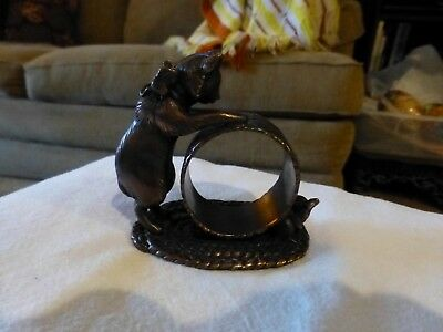 """1999 Reed & Barton Napkin Ring With Cat And Mouse-""""the 1824 Collection"""" Silverpl"""