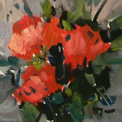 JOSE TRUJILLO ORIGINAL 10X10 Oil Painting AMERICAN Impressionism RED FLOWERS
