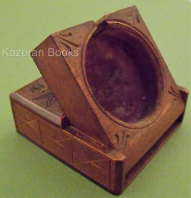 Antique Black Forest Carved Wood Fob Pocket Watch Travel Case Stand Box Treen