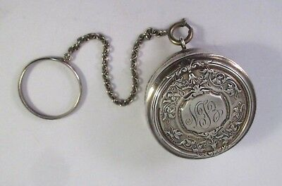 ANTIQUE Vintage NUSSBAUM & HUNOLD STERLING SILVER FINGER RING COMPACT