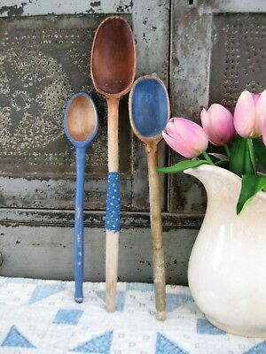 LG Early Antique Wooden Stirring Spoon 1890s Blue Calico