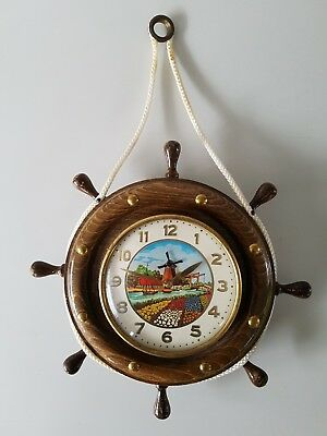Vintage Wall Clock. Ships wheel Dutch Tourist 60s Articulated Windmill Sails.